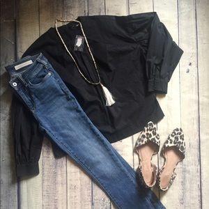 NWT Express Black Cotton Top Size XS